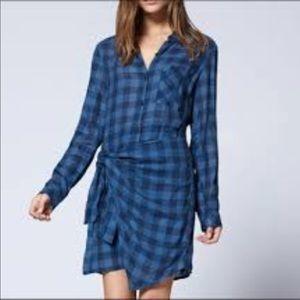 NWT Sanctuary Blue Plaid Wrap dress, large